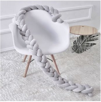 Baby Crib Bed Braided Bumper Side Protection - 2m x 7cm
