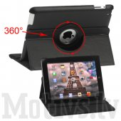"Apple iPad 2 3 4 9.7"" Retina 360 degree rotating leather case cover stand, black - rotējošais vāks"