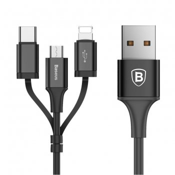 Baseus 3in1 micro USB / iPhone Lightning / USB-C Type-C Charger Cable 2A 1.2m | Lādētājs uzlādes vads kabelis