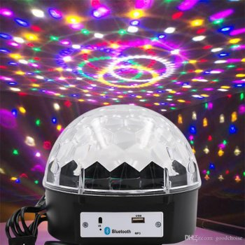 Bluetooth LED Disko Bumba projektors gaisma ballei svētkliem bērniem ar skaļruni, USB MP3 | Chrystal Magic Disco Ball Party Light