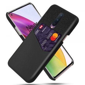 OnePlus 8 KSQ Cloth + PU Leather + PC Combo Phone Cover Case with Card Slot, Black | Vāciņš Bamperis Maks Apvalks