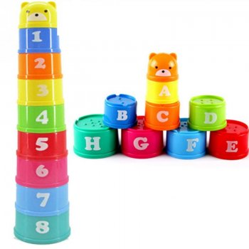 Educational toy building blocks with numbers and letters | Izxglītojoša rotaļlieta Tornis ar cipariem un burtiem