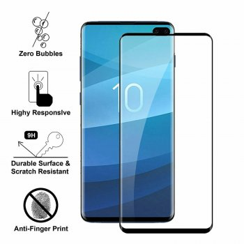 5D Tempered Glass Screen Protector For Samsung Galaxy S10+ Plus (G975F), black | Ekrāna Aizsargstikls