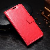 Samsung Galaxy J3 2017 SM-J330 Crazy Horse Leather Card Wallet Cover Case Stand, red – vāks maks