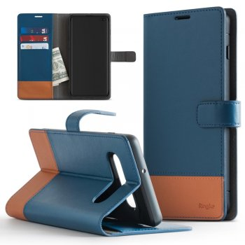 Samsung Galaxy S10+ Plus (G975F) Ringke Wallet 2in1 Leather Case, Blue | Telefona Maciņš Vāciņš Maks