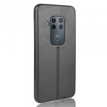 Motorola One Zoom Leather Coated PC + TPU Case Cover, Black | Чехол бампер