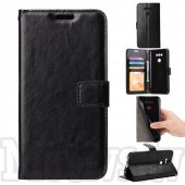 LG G6 H870 Crazy Horse Leather Card Wallet Cover Case Stand, black – vāks maks