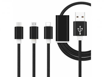 3in1 USB lādētajs kabelis vads iPhone Lightning, USB Type C un Micro USB 93cm | Chager cable