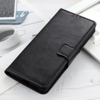 OnePlus 8 Pro Crazy Horse Texture Leather Shell Case Cover with Wallet Stand, Black | Telefona Maciņš Vāciņš Apvalks Grāmatiņa
