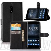 Nokia 6 Litchi Skin Leather Wallet Case Stand, black - vāks maks
