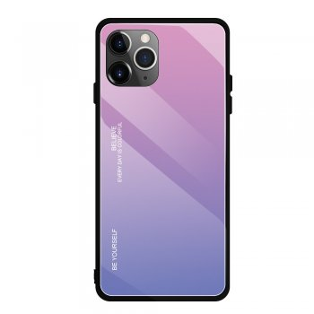 Apple iPhone 11 Pro Gradient Glass TPU + PC Phone Case - Pink / Purple | Telefona vāciņš bamperis