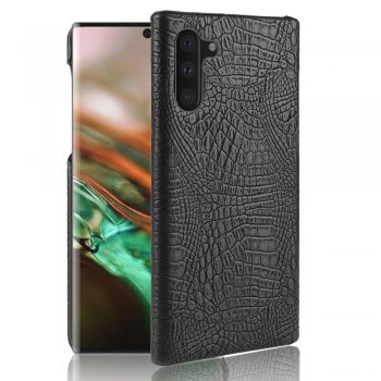 Vaciņš apvalks bamperis priekš Samsung Galaxy Note 10 (SM-N970F) | Crocodile Skin PU Leather Coated PC Phone Shell - Black