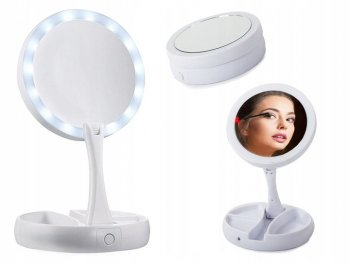 Magnifying Table Makeup Mirror with LED Light Foldable
