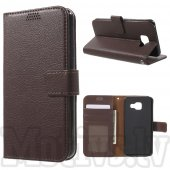 Samsung Galaxy A3 2016 SM-A310F Duos Litchi Skin Leather Case Cover Stand, brown – vāks maks