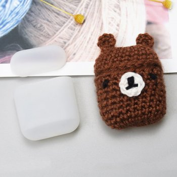 AirPods 2gen / 1gen Silicon Case Cover Box with a Wool Cap, Bear