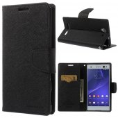 Sony Xperia C3 D2533 S55u Dual D2502 Mercury Goospery Fancy Diary Case Leather Cover, black – aksesuārs vāks maks