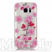 Samsung Galaxy S7 G930 Embossed Clear TPU Protection Cover - Plum Flowers, puscietā silikona vāks vāciņs