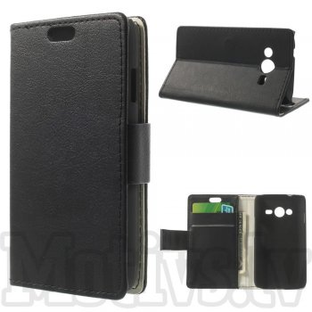 Samsung Galaxy Ace NXT SM-G313H / Ace 4 LTE G313F Litchi Leather Wallet Book Case Magnetic Cover Stand, black - maks maciņš