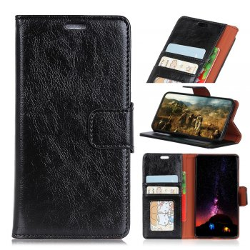 Huawei Honor 9 Lite (LLD-TL10) Nappa Pattern Split Leather Card Wallet Cover Case Stand, black – vāks maks