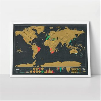 Poster with World Scratch Map Travel Gift, 42 х 30 cm