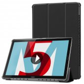 "Huawei MediaPad M5 10.8"" Tri-fold Stand Smart Leather Case Cover, black - vāks apvalks pārvalks"