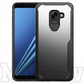 Samsung Galaxy A8 2018 SM-A530F Shock-proof PC + TPU Hybrid Transparent Case, black transparent – bamperis