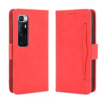 Xiaomi Mi 10 Ultra Wallet Stand Flip Leather Protective Case Cover, Red