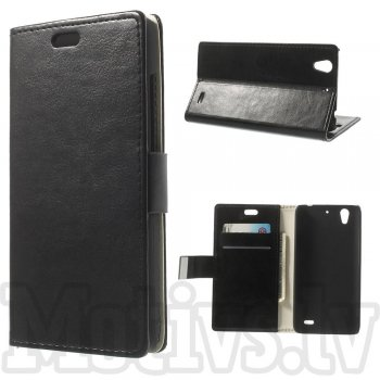 Huawei Ascend G630 Crazy Horse Wallet Book Case Cover Stand, black - maks maciņš