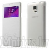 Samsung Galaxy Note 4 SM-N910F Window Slim Leather Case Cover, white - vāciņš vāks maks maciņš