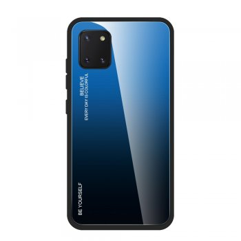 Samsung Galaxy Note 10 Lite (SM-N770F) Gradient Color Tempered Glass + TPU + PC Back Case Cover - Blue / Black | Vāks bamperis