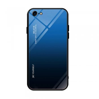 Apple iPhone 8 / 7 / SE (2020) 4'7 Gradient Glass TPU + PC Phone Case - Blue / Black