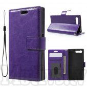 Sony Xperia X Compact F5321 Crazy Horse Leather Card Wallet Cover Case Stand, purple – vāks maks