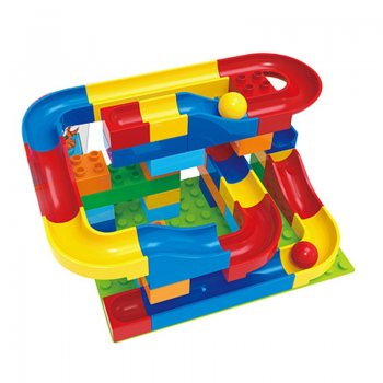 Maze track for the ball with building blocks (48 pcs). | Crazy happy Ball