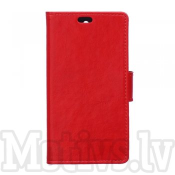 LG G4 Stylus H635 G Stylo Crazy Horse Leather Book Flip Case Cover Stand, red - vāks vāciņš maks maciņš
