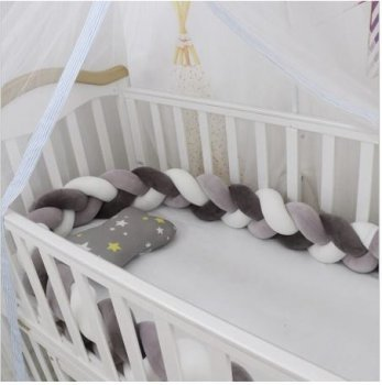 Baby Crib Bed Braided Bumper Side Protection - 2m x 9cm