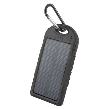 Forever STB-200 5000mAh Power Bank Solar Battery Charger Dual port 2.1A , Black - ārējais akumulators/lādētājs
