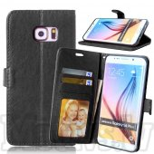 Samsung Galaxy S6 edge+ plus SM-G928F Crazy Horse Leather Wallet Cover Case Stand, black - aksesuārs vāks maks