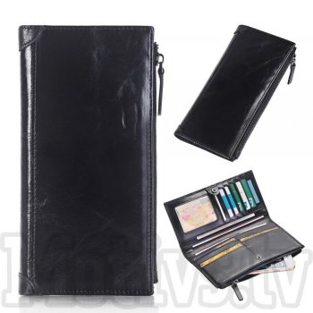 Genuine Leather Zipper Wallet Mobile Phone Pouch Case Size L, black - vāks, maks, somiņa
