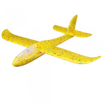 Hand Throwing Foam Airplane Glider with 8 LED Lights 47x48 cm, Yellow