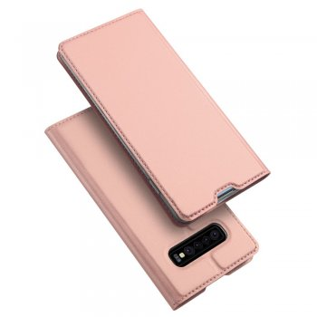Samsung Galaxy S10+ Plus (G975F) DUX DUCIS Leather Case - Rose / Telefona vāciņš-maciņš no EKO ādas, Rozā