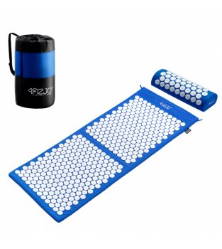 4FIZJO Acupressure mat acupuncture massage mat + Pillow (128 x 48cm, Blue / White)