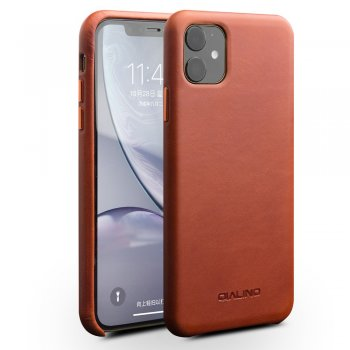 Apple iPhone 11 6.1'' QIALINO Original Genuine Leather Phone Back Case, Brown | Чехол для телефона