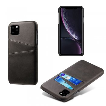Apple iPhone 11 Pro Max Double Card Slots PU Leather Coated PC Case, Black