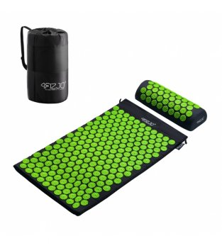 4Fizjo Acupressure mat acupuncture massage mat + Pillow (72 x 42cm, Black / Green)