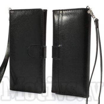 Universal Crazy Horse Leather Pouch Case Wallet for iPhone 4 5, Samsung Galaxy, HTC, LG, Nokia, Sony Xperia, black - somiņa, maks 15 x 6.5 cm