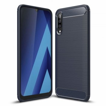 Samsung Galaxy A50 2019 (SM-A505F) Carbon Fiber Brushed TPU Gel Case Bumper Cover, blue