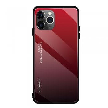 Apple iPhone 11 Pro Gradient Glass TPU + PC Phone Case - Red / Black | Telefona vāciņš bamperis