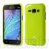 Samsung Galaxy J1 SM-J100F J100H Mercury Glitter Powder Jelly TPU Case Cover Shell, green - aksesuārs vāks bamperis