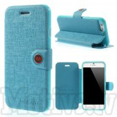 "Apple iPhone 6 6S 4.7"" Meilaite Textured Leather Book Case Cover Stand, blue - vāciņš, maciņš"