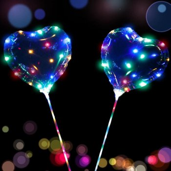 Wedding Birthday New Year Party Lights Decor Heart Multicolor LED Balloon, 1 pcs
